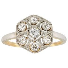 Edwardian Hexagonal Shaped Diamond Panel Ring