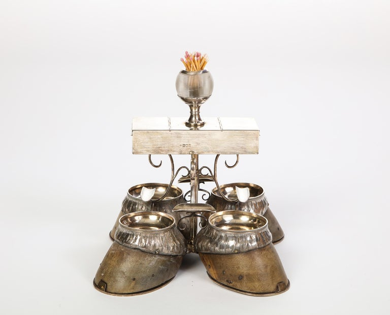 Edwardian Hoof-Mounted Sterling Silver Smoking Compendium, Circa 1908 For Sale 13
