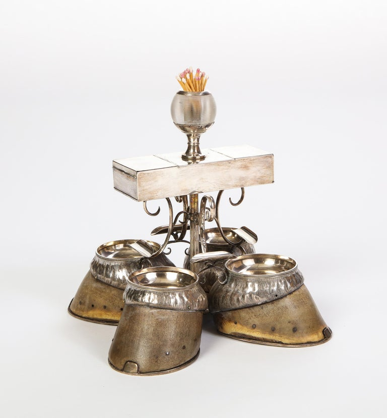 Edwardian Hoof-Mounted Sterling Silver Smoking Compendium, Circa 1908 For Sale 2