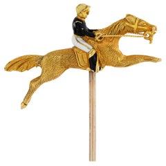 Edwardian Horse and Jockey Stick-Pin