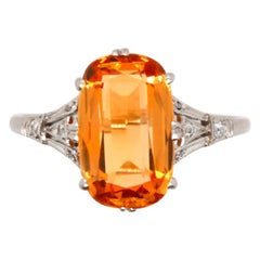 Edwardian Imperial Topaz and Diamond Ring, circa 1910s