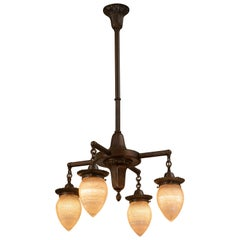 Edwardian or Industrial 4-Arm Chandelier with 4 Holophane Torpedo Shades