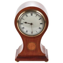 Edwardian Inlaid Mahogany Balloon Clock