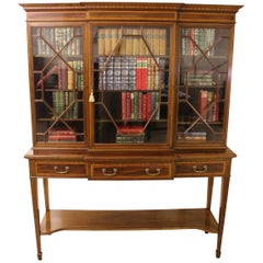 Edwardian Inlaid Mahogany Bookcase by Edwards and Roberts