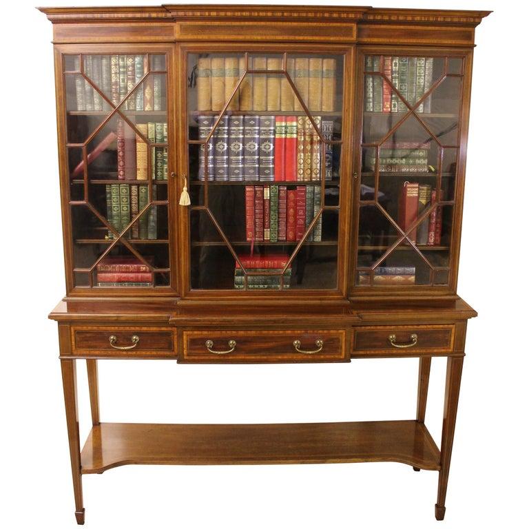 Edwardian Inlaid Mahogany Bookcase By Edwards And Roberts