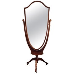 Edwardian inlaid mahogany cheval mirror