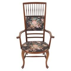 Edwardian Inlaid Mahogany High Back Occasional Arm Chair, Scotland 1910, B2505