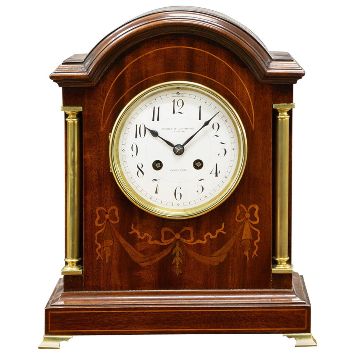 Edwardian Inlaid Mahogany Mantel Clock Signed Boodle and Dunthorne, Liverpool
