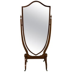 Edwardian Inlaid Mahogany Shield Shaped Cheval Dressing Mirror