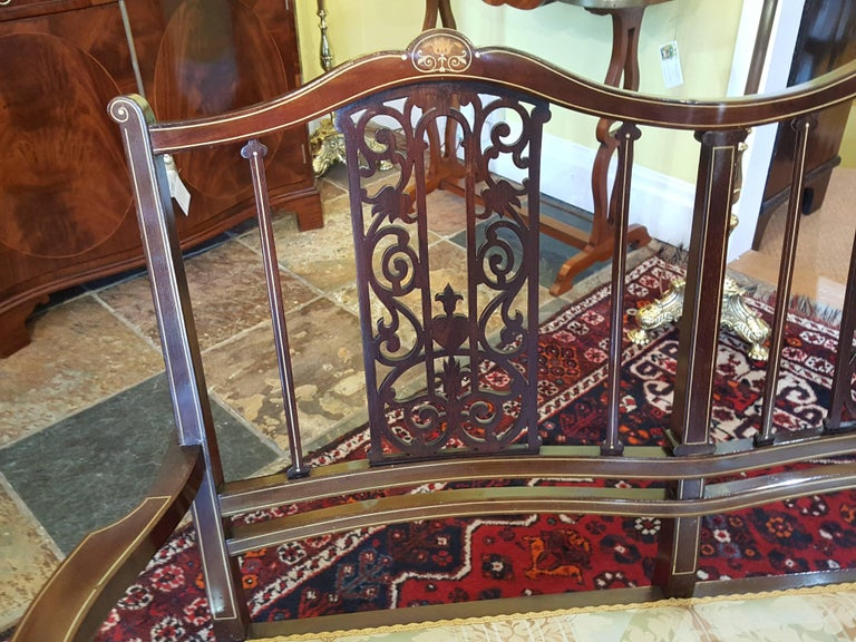 English Edwardian Inlaid Mahogany Two-Seat Sofa For Sale