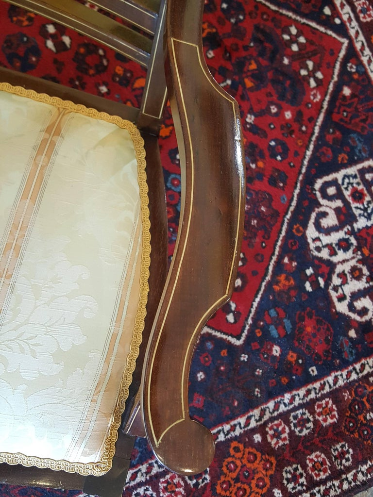 Early 20th Century Edwardian Inlaid Mahogany Two-Seat Sofa For Sale