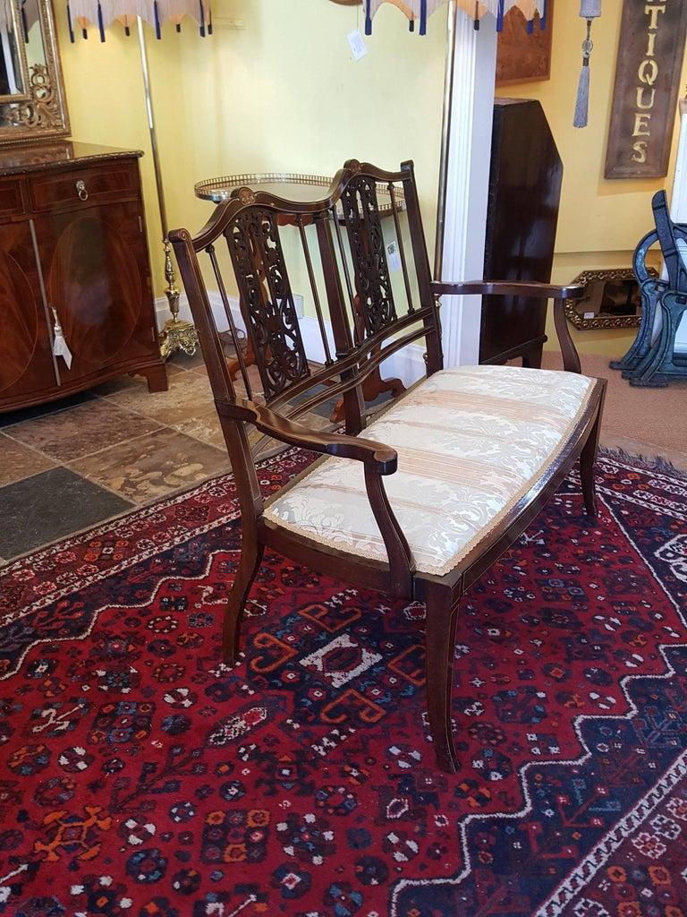 Edwardian Inlaid Mahogany Two-Seat Sofa For Sale 1