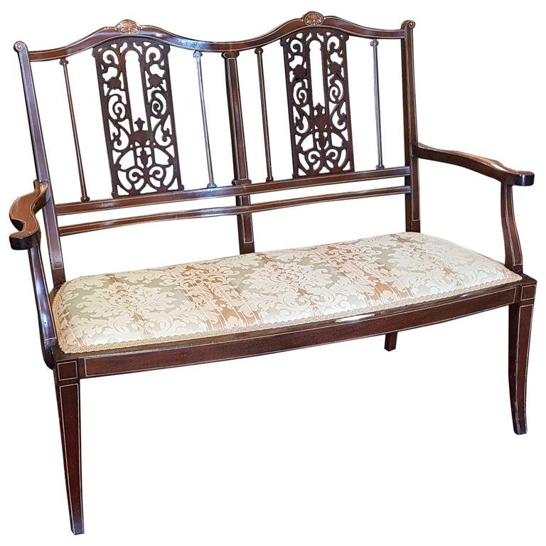 Edwardian Inlaid Mahogany Two-Seat Sofa For Sale