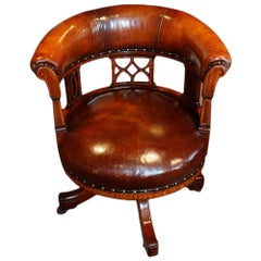 Edwardian Inlaid Revolving Desk Chair