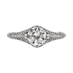 Edwardian Inspired 1.04 Carat Old European Cut Diamond Engagement Ring