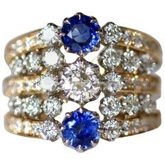 Edwardian Inspired Sapphire and Diamond Stack Ring