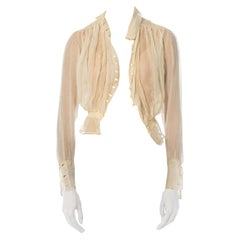 Edwardian Ivory Light Weight Silk Haute Couture Blouse With Mother-Of-Pearl But