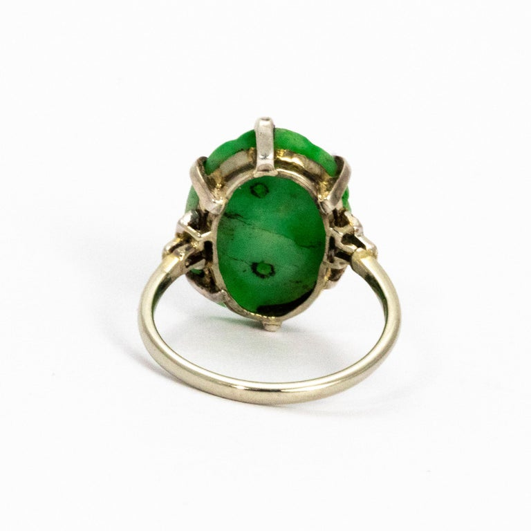 Women's or Men's Edwardian Jade and Diamond Platinum Ring For Sale