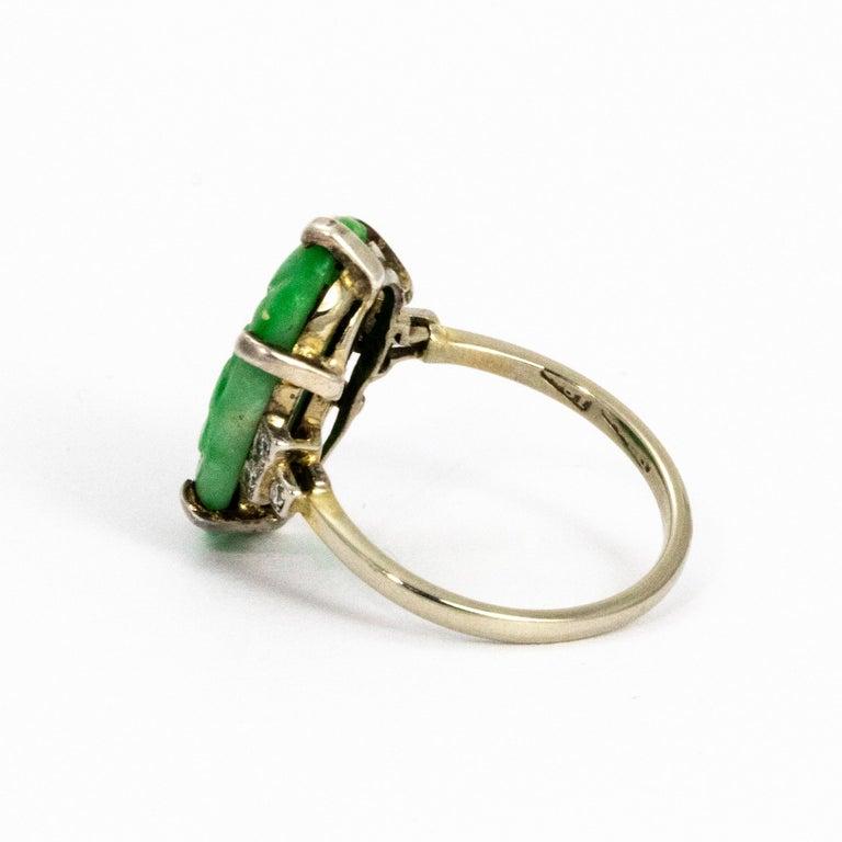 Edwardian Jade and Diamond Platinum Ring For Sale 1