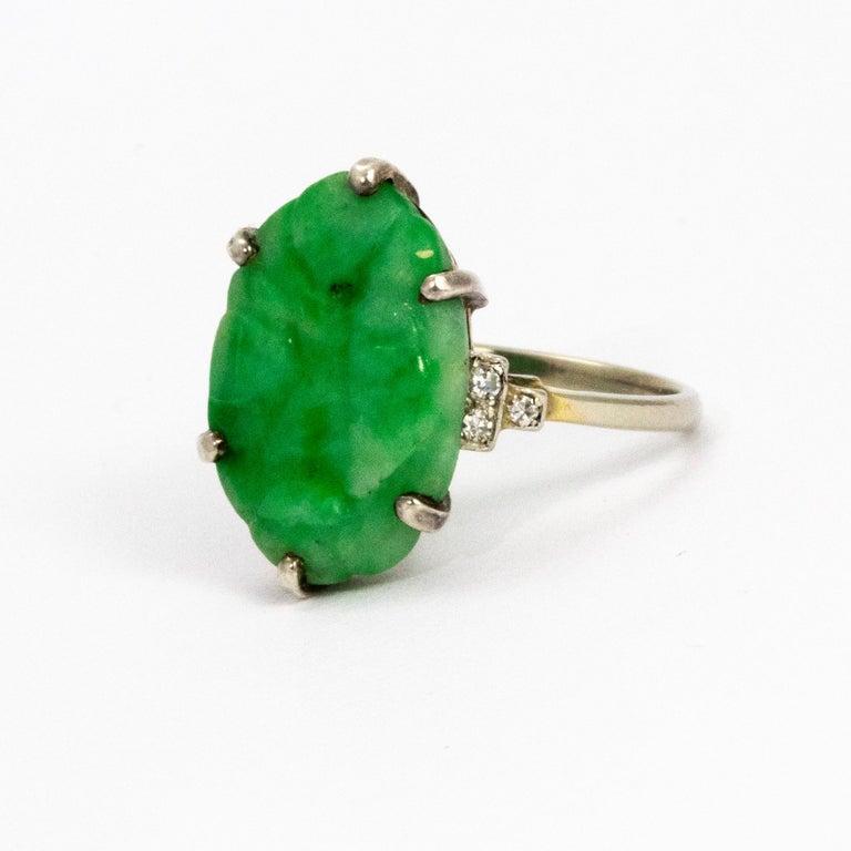 Edwardian Jade and Diamond Platinum Ring For Sale 2