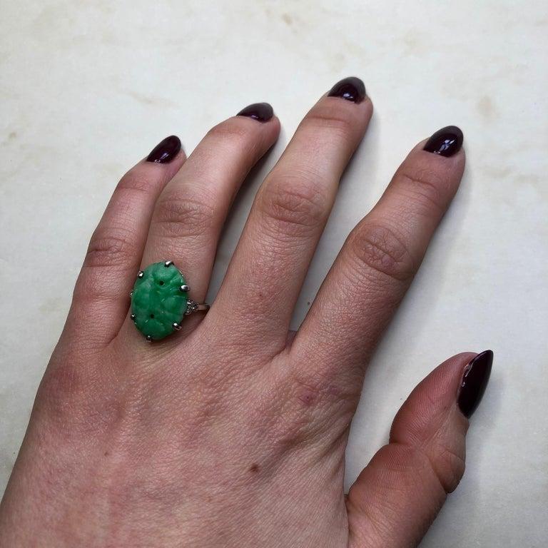 Edwardian Jade and Diamond Platinum Ring For Sale 3