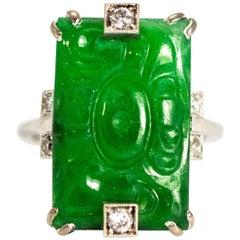 Edwardian Jade and Diamond Platinum Ring