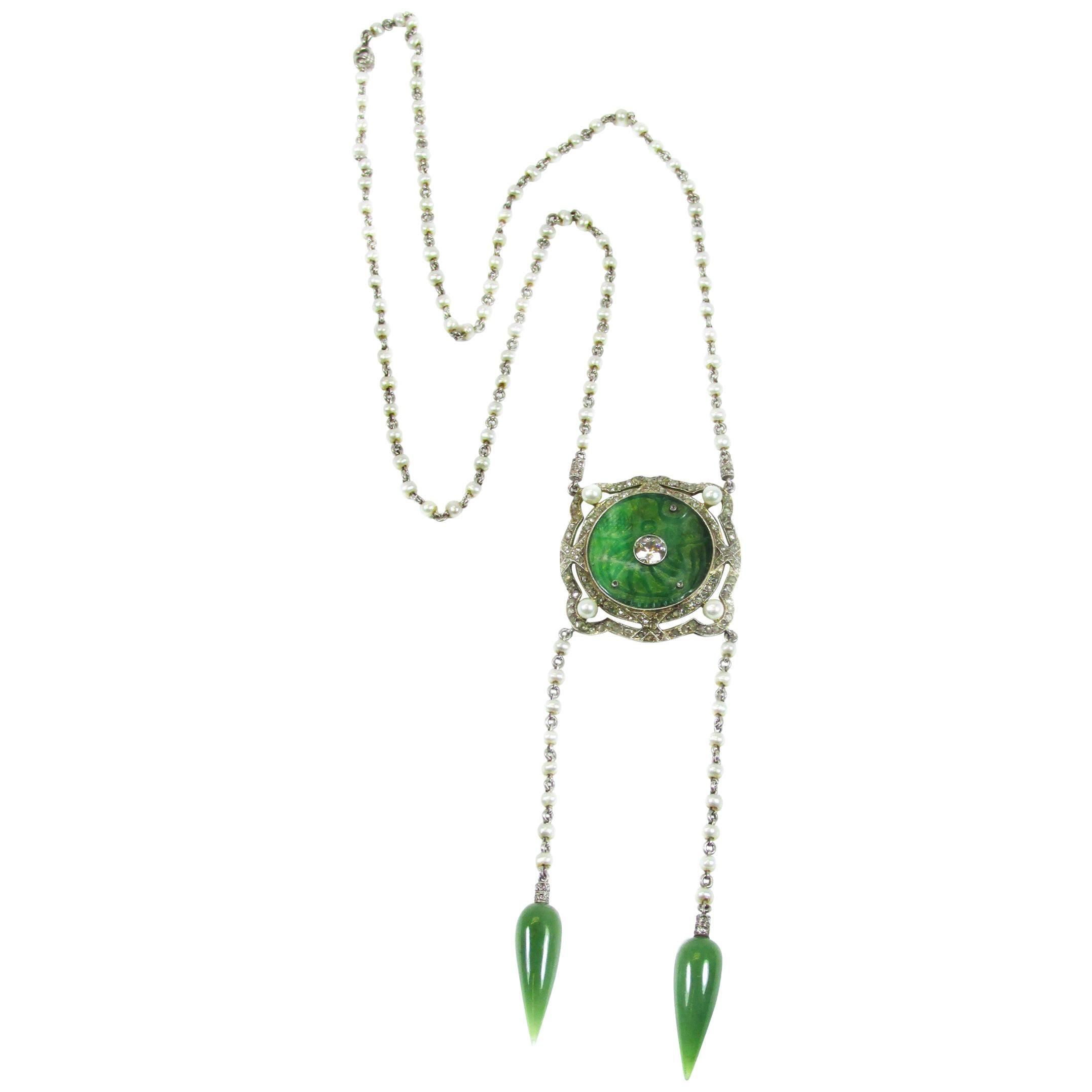 Edwardian Jade Natural Pearl Diamond Platinum Sautoir Necklace