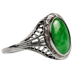 Edwardian Jade Ring 18 Karat Certified Untreated