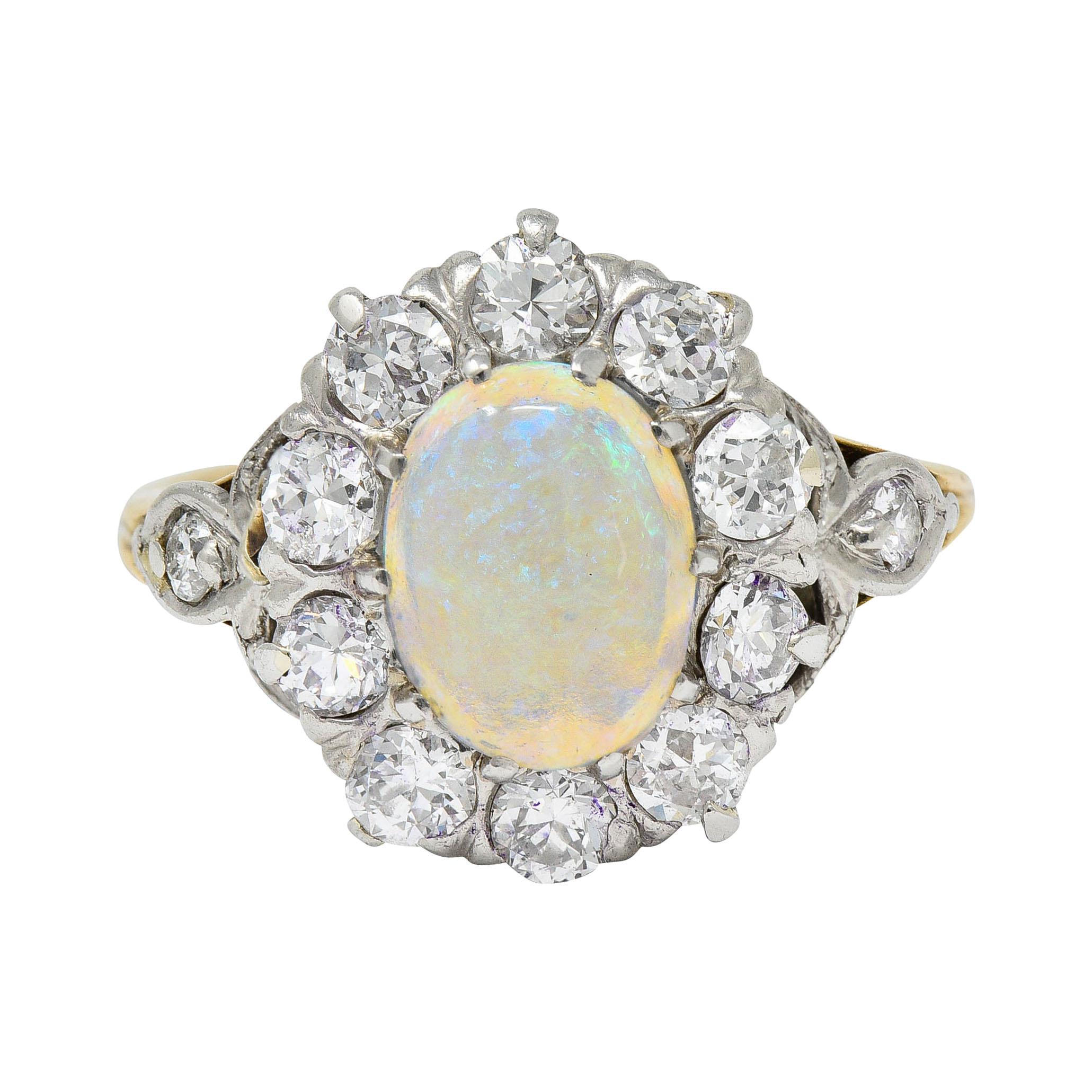 Edwardian Jelly Opal 1.06 Carats Diamond Platinum 14 Karat Gold Cluster Ring