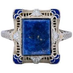 Edwardian Lapis Lazuli Enamel 14 Karat White Gold Dinner Ring