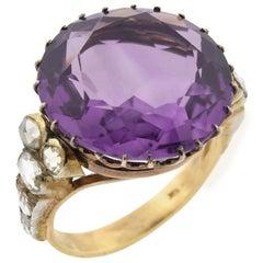 Edwardian Large 14 Carat Amethyst and Diamond Ring