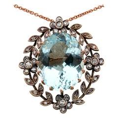 Edwardian Large 35.0 Ct Natural Aquamarine 1.50 Ct Diamond Rare Brooch Pendant