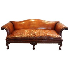 Edwardian mahogany grade 1 leather camel back sofa, Circa 1910