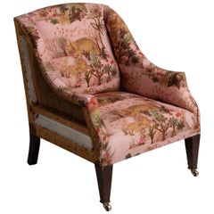 Edwardian Library Chair in Linen / Cotton / Nylon Dinosaur Print from House of H