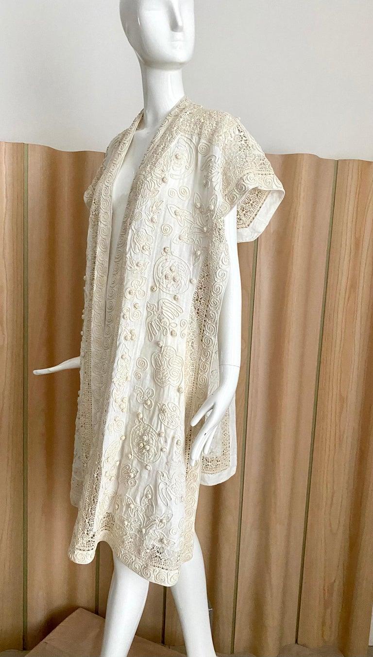 Beige Edwardian Linen Vest with soutache trim For Sale