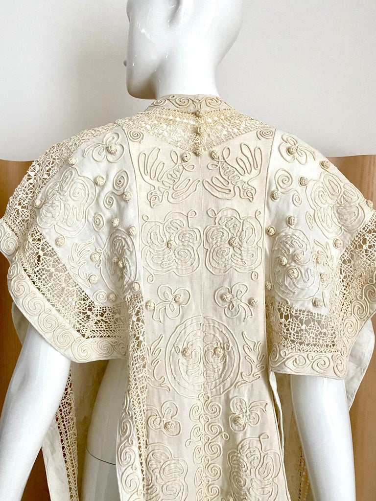 Edwardian Linen Vest with soutache trim In Good Condition For Sale In Beverly Hills, CA
