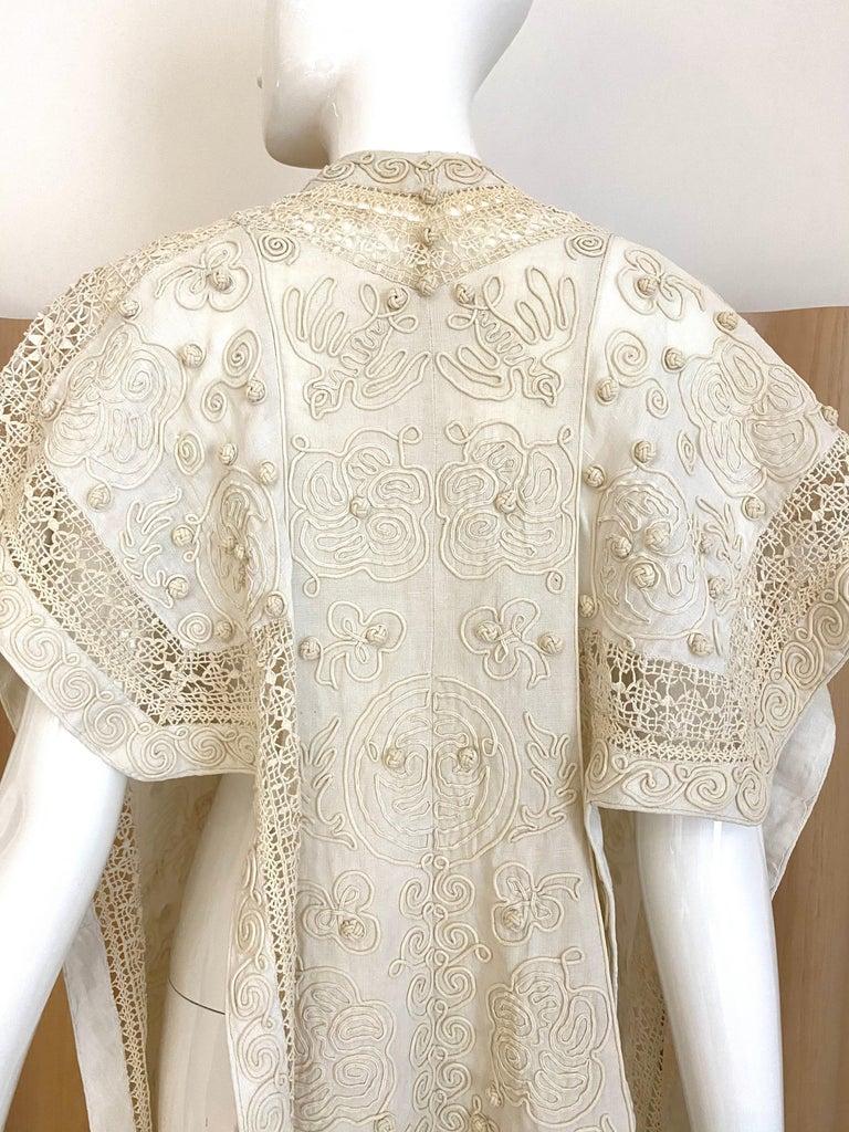 Women's Edwardian Linen Vest with soutache trim For Sale