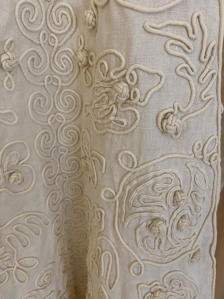 Edwardian Linen Vest with soutache trim For Sale 1