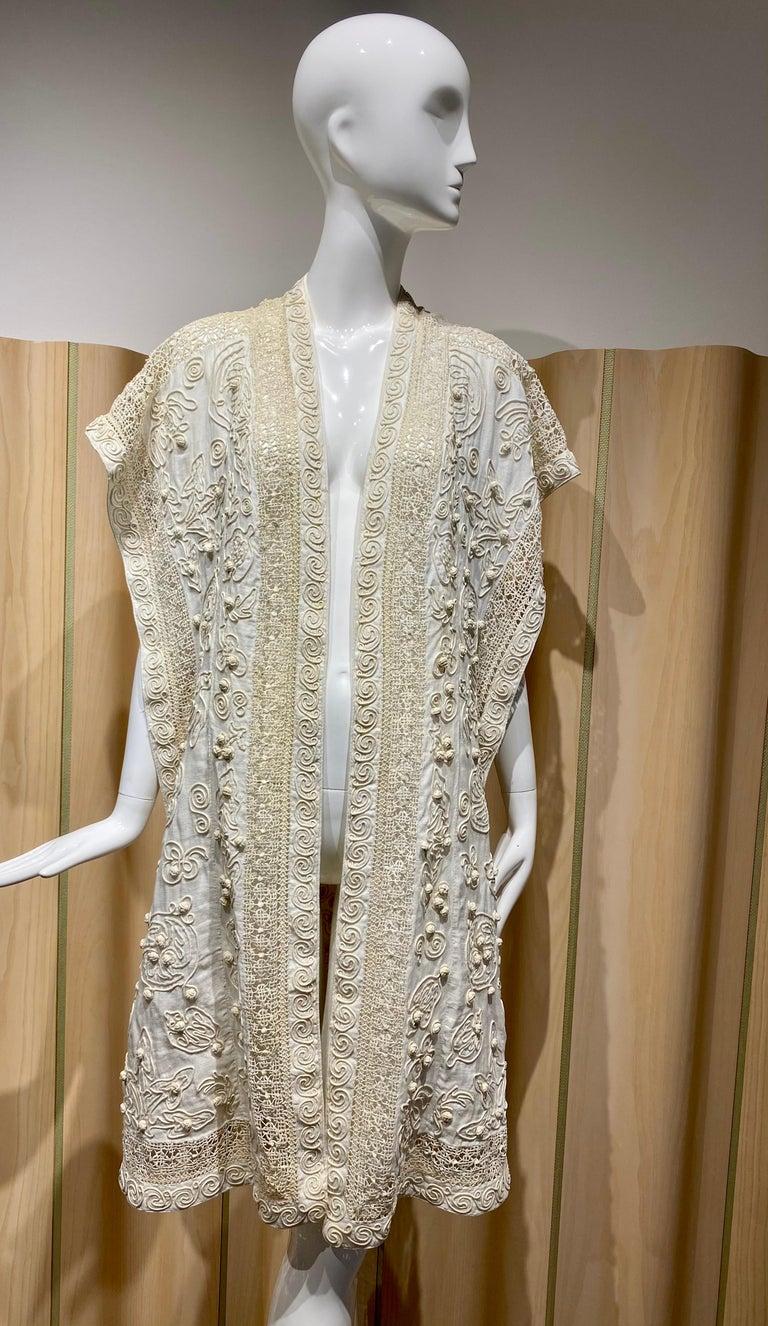 Edwardian Linen Vest with soutache trim For Sale 2