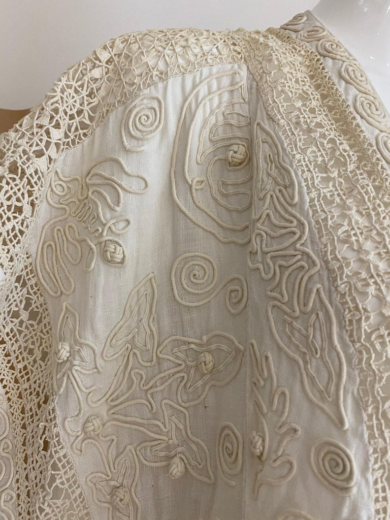 Edwardian Linen Vest with soutache trim For Sale 3