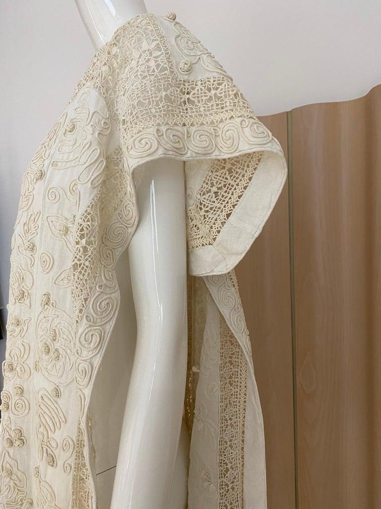 Edwardian Linen Vest with soutache trim For Sale 4