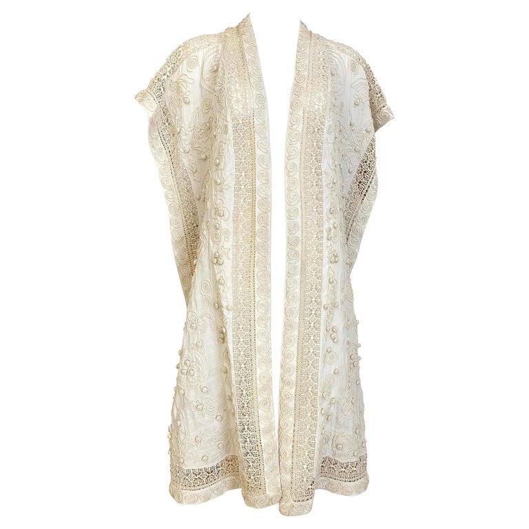 Edwardian Linen Vest with soutache trim For Sale
