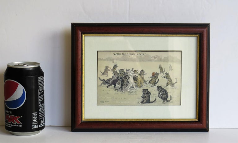 Edwardian Louis Wain Framed Cat Postcard