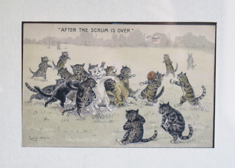 This is a signed cat postcard by Louis Wain called