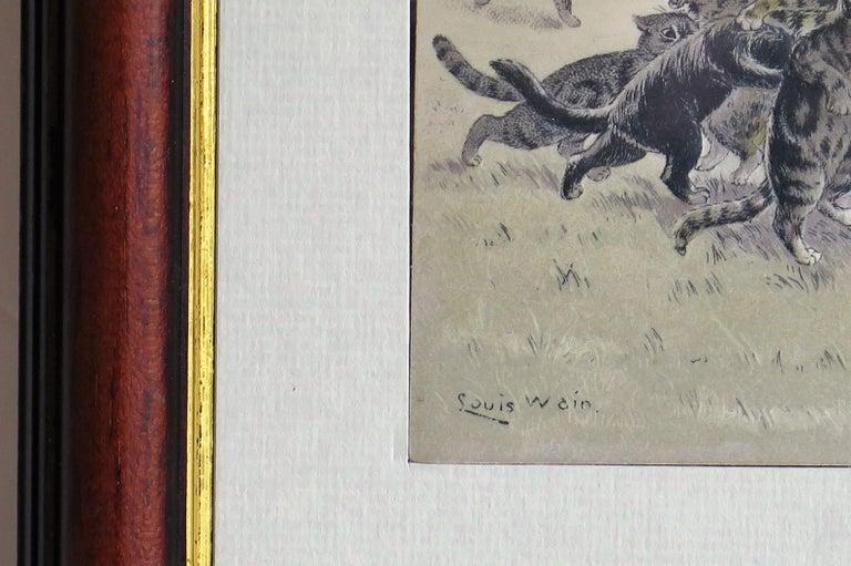 British Edwardian Louis Wain Framed Cat Postcard