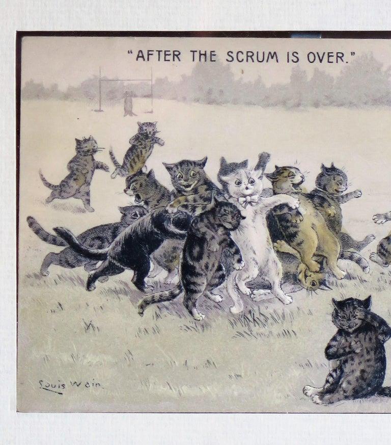 20th Century Edwardian Louis Wain Framed Cat Postcard