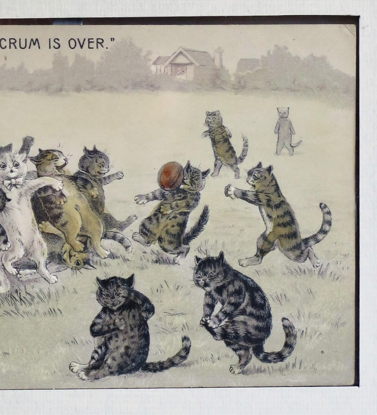Wood Edwardian Louis Wain Framed Cat Postcard