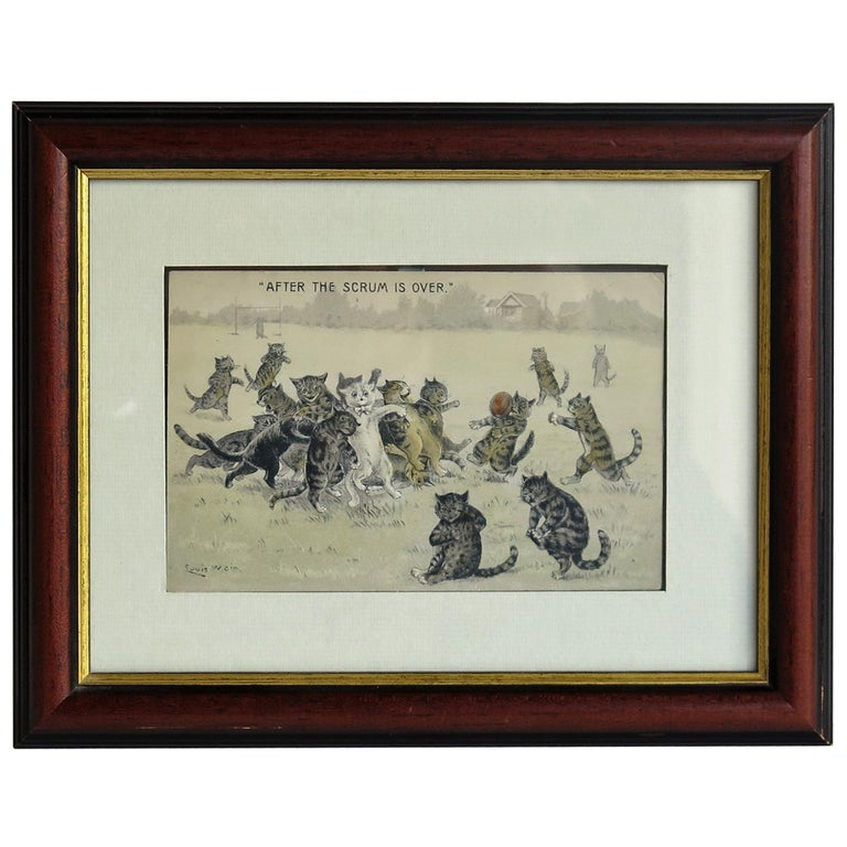 """Edwardian Louis Wain Framed Cat Postcard """"After The Scrum is Over"""", circa 1900 For Sale"""
