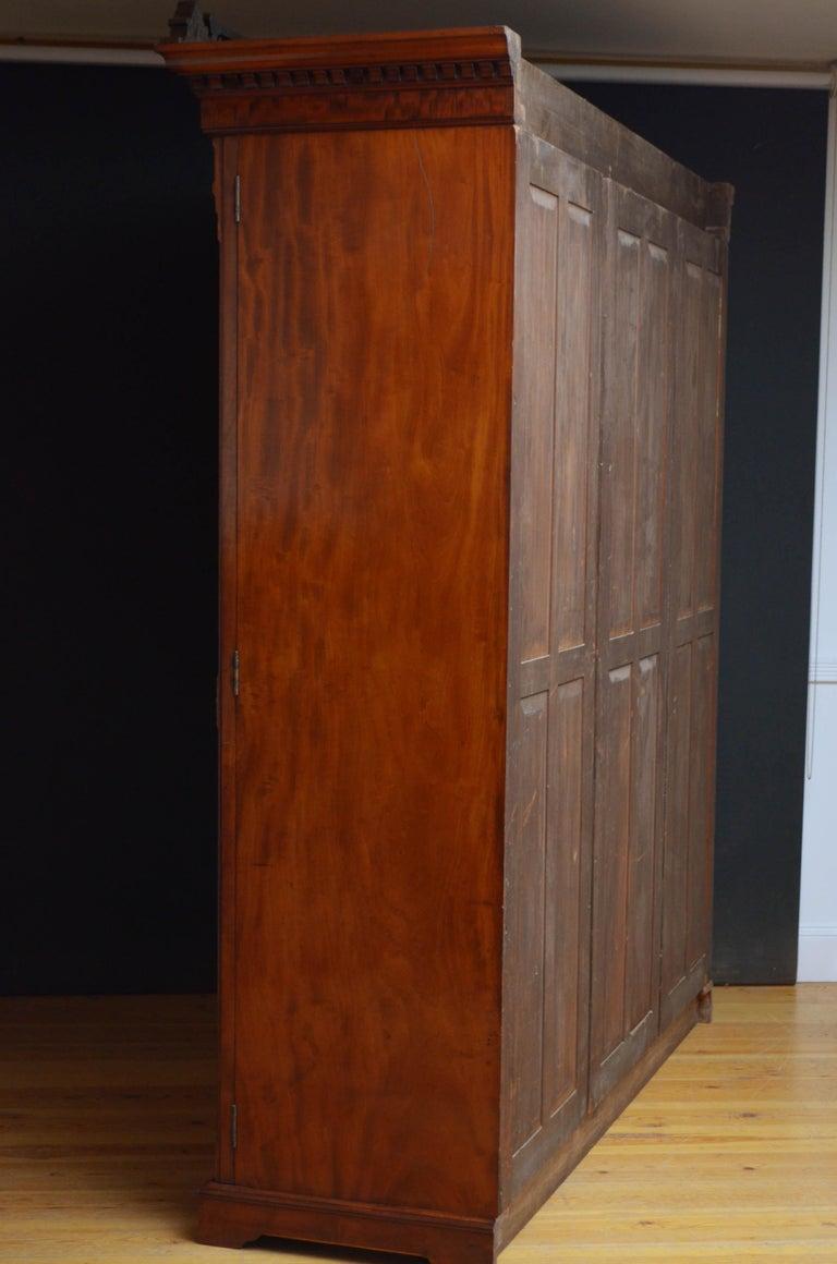 Edwardian Mahogany 3-Door Wardrobe For Sale 14