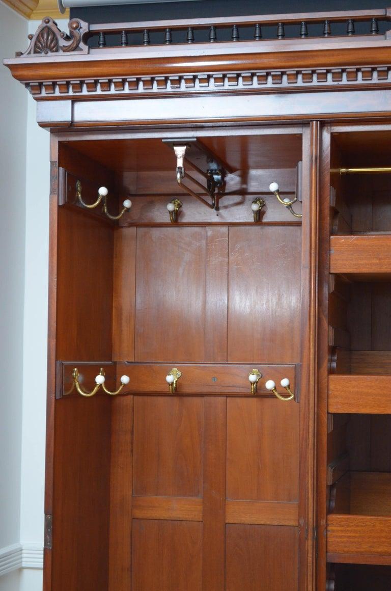 English Edwardian Mahogany 3-Door Wardrobe For Sale